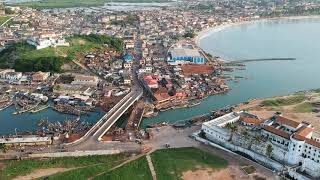 Drone Footage of the Elmina Castle - Slave Trade History, Ghana - Africa