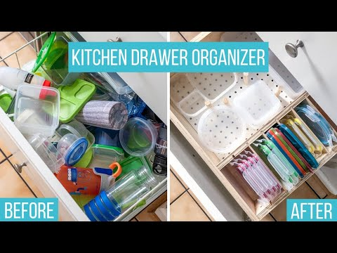 DIY Drawer Organizer for Plastic Containers and Lids