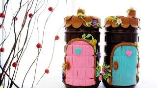 pote de toddy decorado com biscuit (reciclagem)