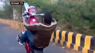 Best Indian Funny Video 2016 - Dangerous Bike Stunt By Indian On Royal Enfield 2016