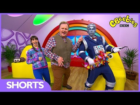 Justin Fletcher and Robert the Robot at the CBeebies House!