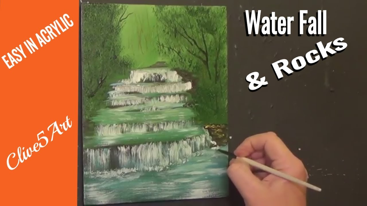 Waterfall Rocks Step By Step Acrylic Painting On Canvas