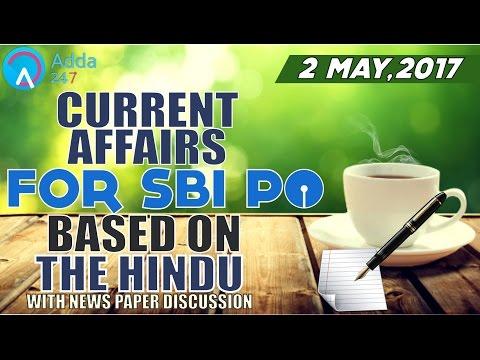 एसबीआई पीओ के लिए दि हिन्दू आधारित करंट अफेयर्स (02 मई2017)