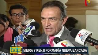 Kenji Fujimori y Roberto Vieira conversan para formar nueva bancada