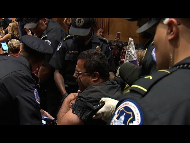 Protests break out at Senate health care hearing