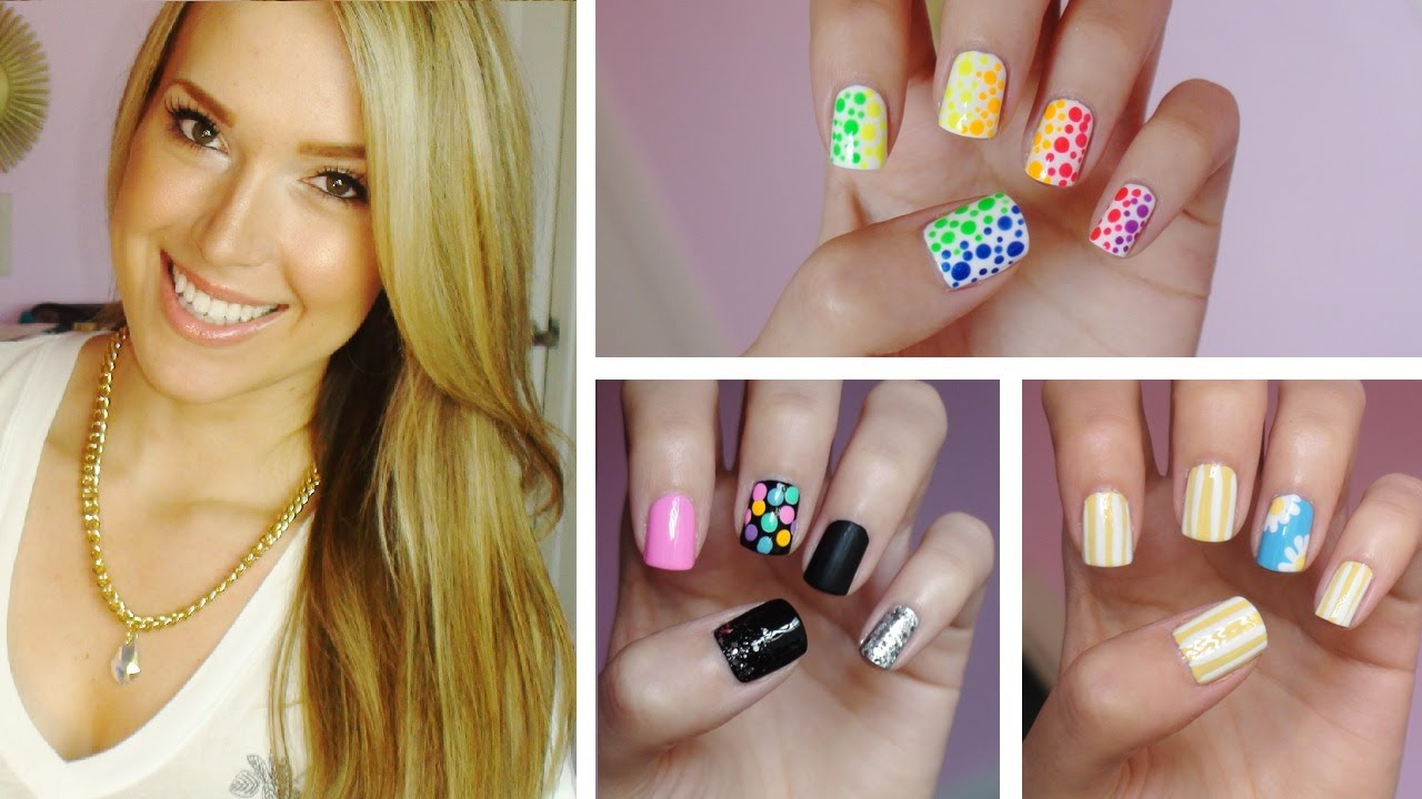 - ✹Summer Nail Art!!! Three Easy Designs! ✹ - YouTube