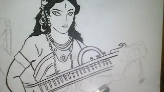 Saraswati  maa quick sketch do watch
