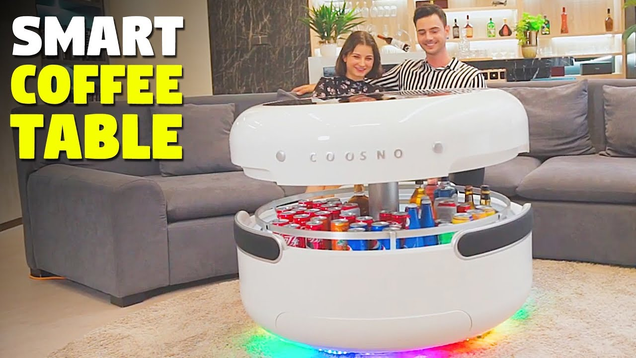 smart coffee table with refrigerator bluetooth speakers wireless charging and voice control