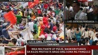 QRT: Mga militante at pulis, nagkabatuhan sa kilos protesta sa Commonwealth Ave., QC, bago ang SONA