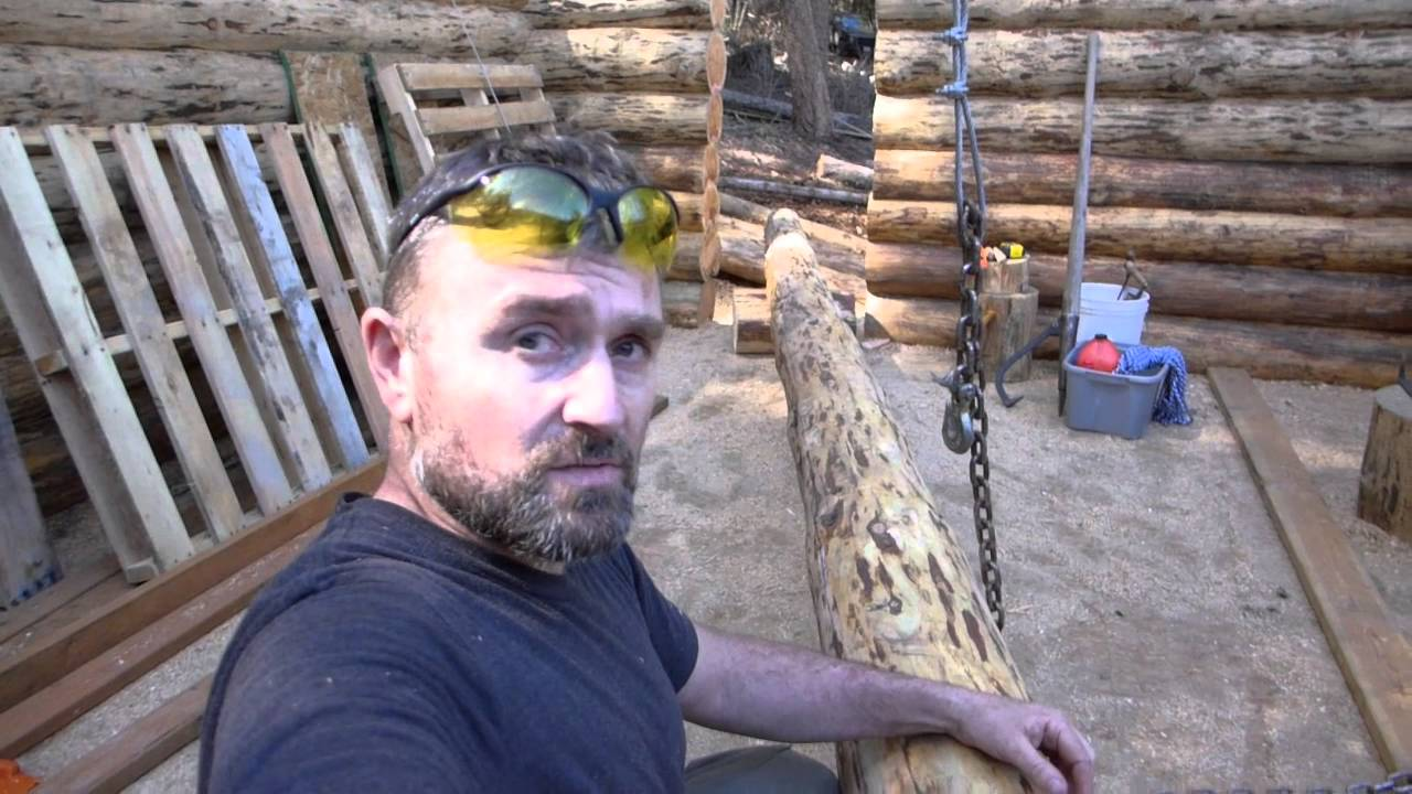 off grid log cabin build
