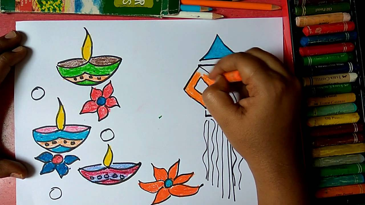 How to draw colourful diya and lantern for Diwali wishes step by ... for Diwali Lantern Drawing  103wja