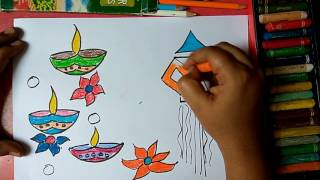 How to draw colourful diya and lantern for Diwali wishes step by step very easily for kids