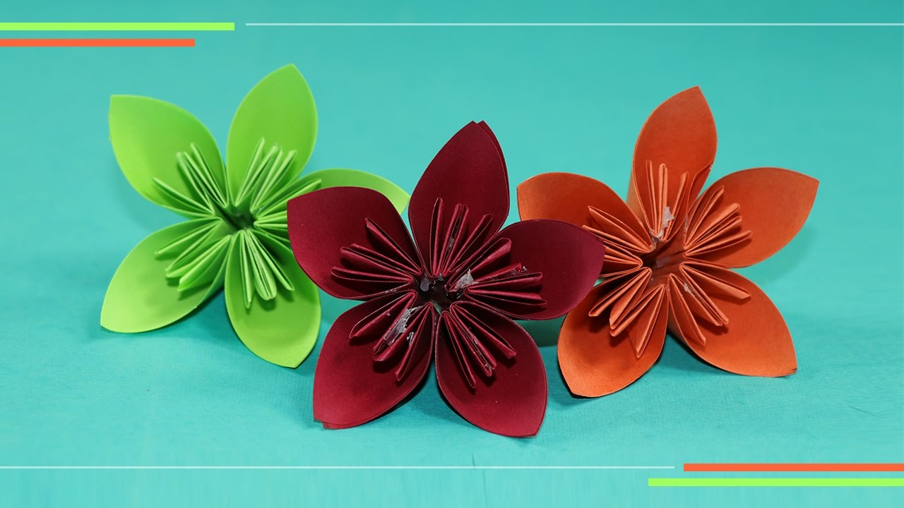 origami kusudam flower how to make paper flowers easy