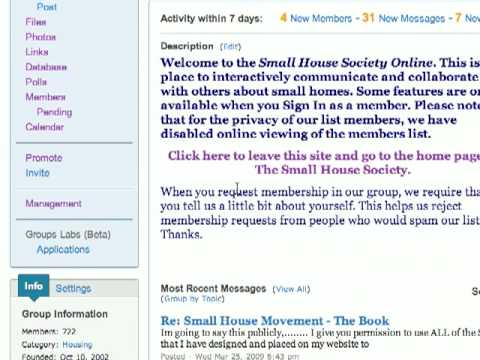 Small House Society Yahoo Groups Introduction and Usage Guide