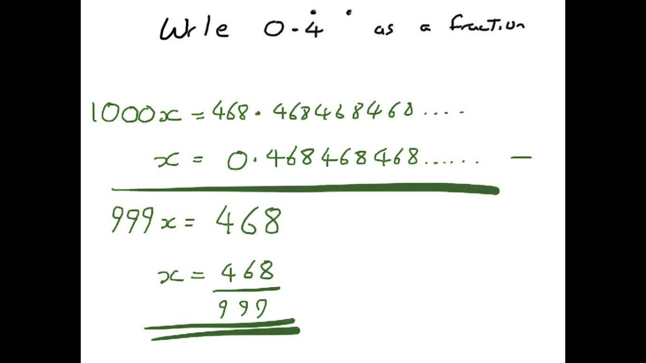 How to write Recurring Decimals as Fractions