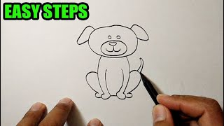 How to draw animals easy | Dog