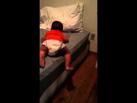 10 Month Old Baby Getting Off The Bed