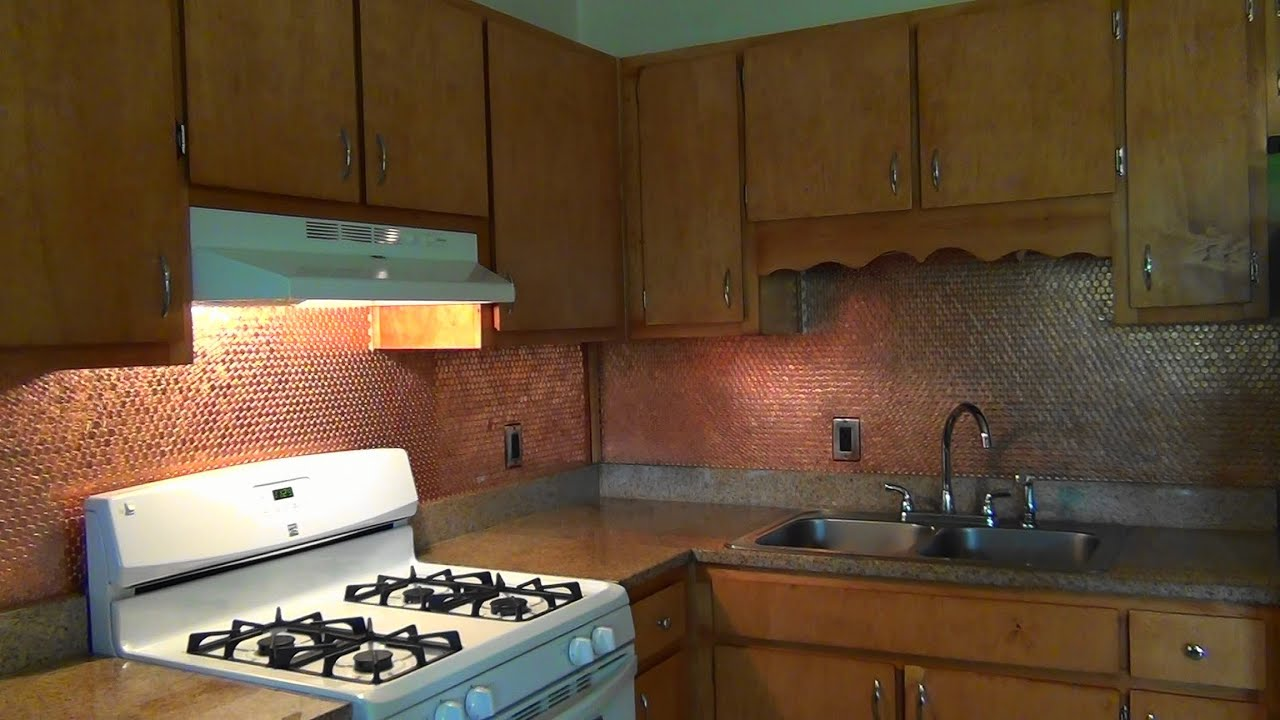 Diy penny backsplash youtube for How to make a penny wall