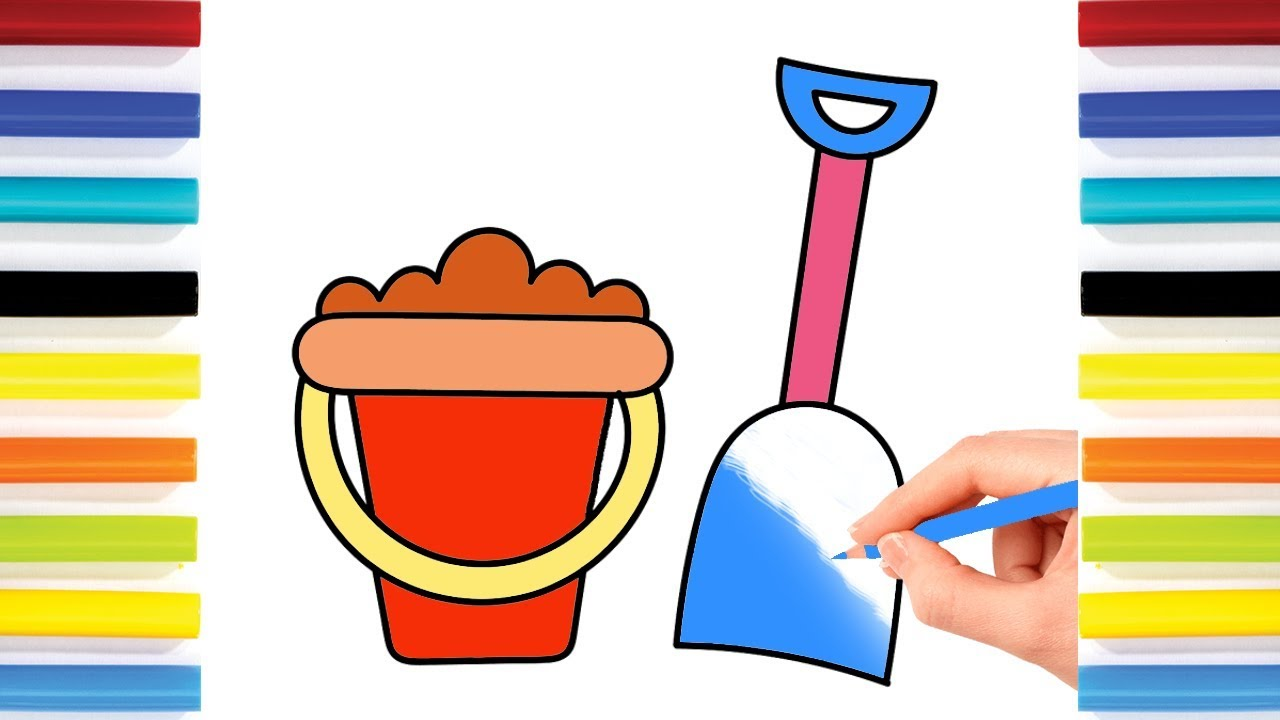 learning colors for kids by drawing sand castle tools coloring