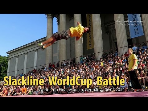 Slackline WorldCup Battle - Felix Carreira vs Jaan Roose - real-time feature!
