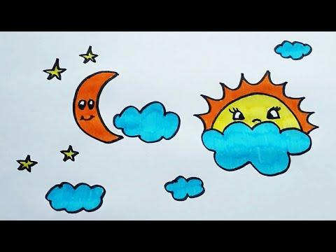 Рисуем с ребенком небо. Раскрашиваем фломастерами солнце ...
