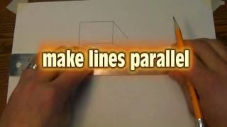 drawing a glass and open 1 point perspective box