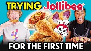 Americans Try Jollibee F๐r The First Time! (Chickenjoy, Yum Burger, Burger Steak, Jolly Spaghetti)