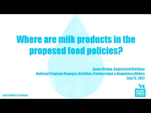 Review of Canada's Food Guide – The Place of Milk Products
