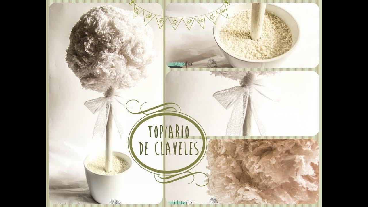 DIY Topiario de claveles o rbol decorativo para bodas y