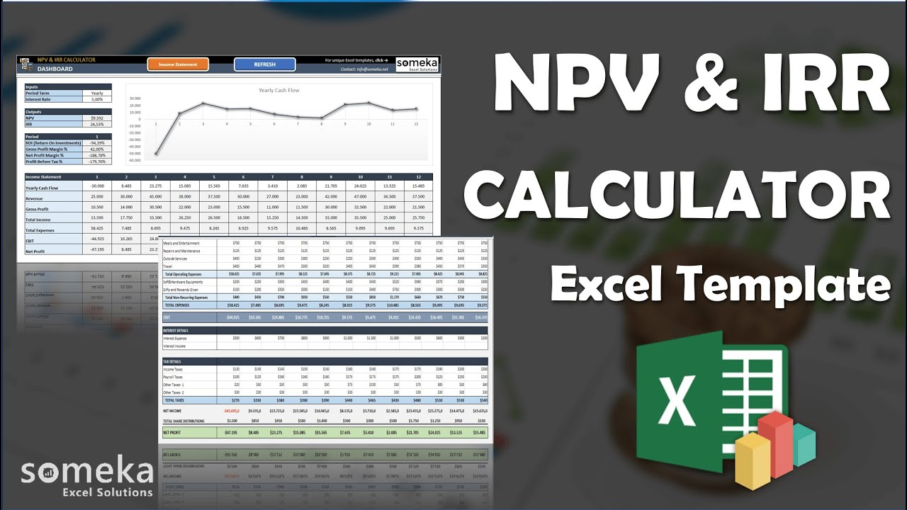 npv  u0026 irr calculator excel template