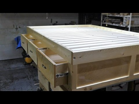 Make aqueen size bed frame with 3 drawers