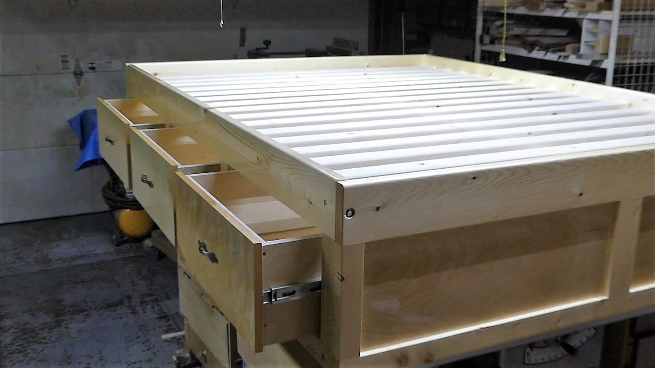 Make a queen size bed frame with 3 drawers  YouTube
