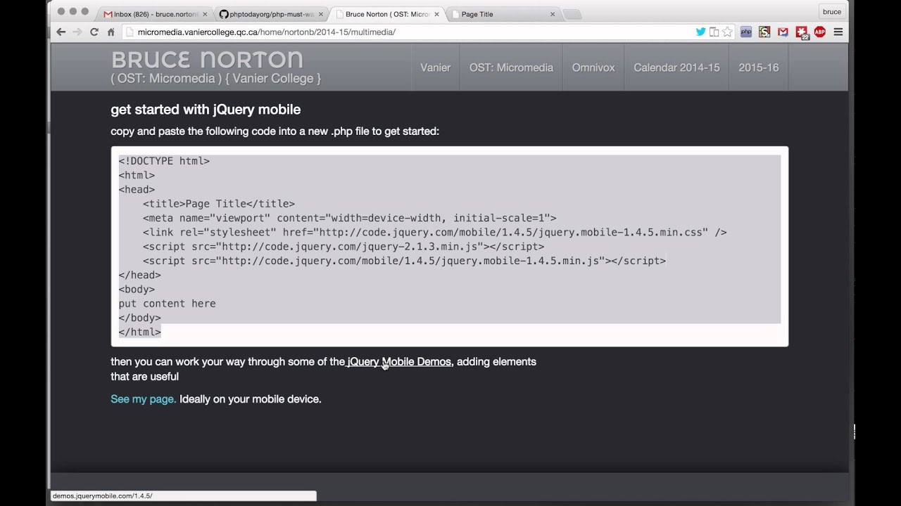 jQuery mobile: get started