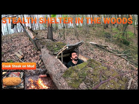 SOLO Two Days CAMPING At My BUSHCRAFT Camp - Sleep In EARTH SHELTER - Cook Big Steak On Mud Stove