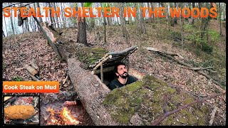 SOLO Two Days CAMṖING at My BUSHCRAFT Camp - Sleep In EARTH SHELTER - Cook Big Steak on Mud Stove