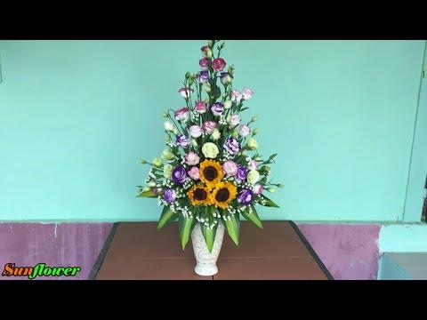 Cắm Hoa Tết – Bình Hoa Cát Tường + Hướng Dương