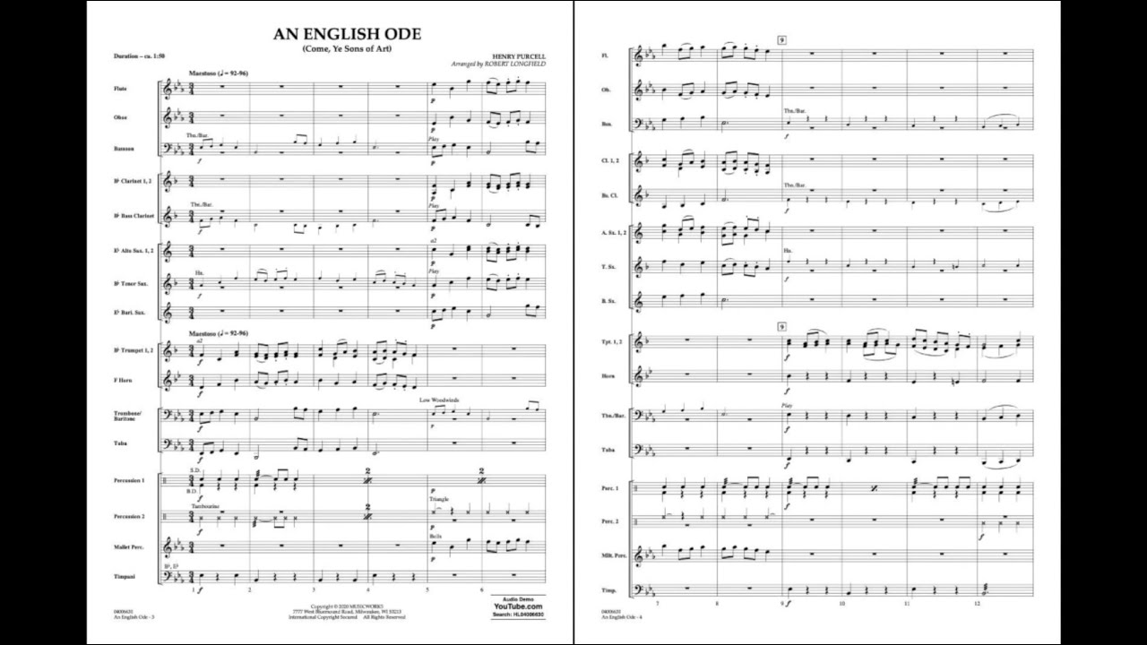 An English Ode (Come, Ye Sons of Art) by Henry Purcell/arr. Robert Longfield