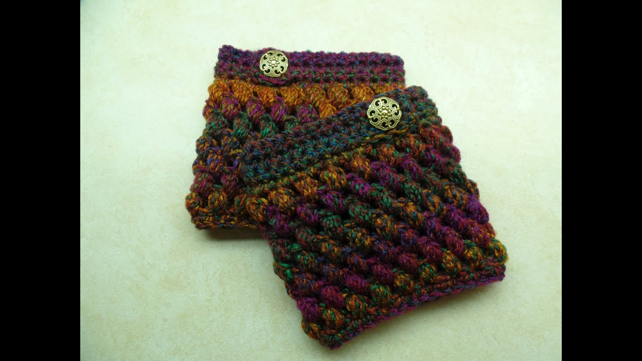 Crochet How To #crochet Puff Cuffs Puff Stitch Boot Cuffs #tutorial #264  Learn Crochet