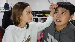 [AMWF] GIRLFRIEND DOES BOYFRIENDS MAKEUP!!!   International couple Video