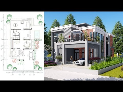 Sketchup Drawing 2 stories Modern Home Design with 3 Bedroom