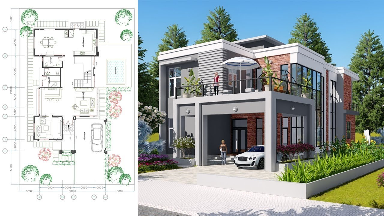 Sketchup Drawing 2 Stories Modern Home Design With 3
