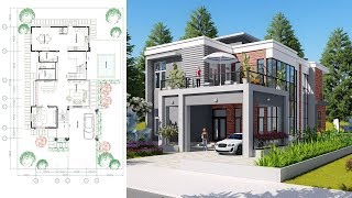 Video Sketchup Drawing 2 stories Modern Home Design with 3 Bedrooms Size 11.5x21.1m download MP3, 3GP, MP4, WEBM, AVI, FLV Desember 2017