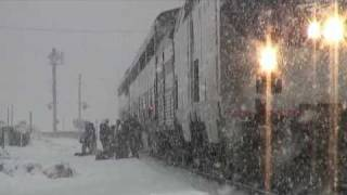 Amtrak California Zephyr In Snow Storm: Truckee, California