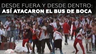Momento en que hinchas de River Plate atacan con piedras el bus del equipo de Boca Juniors