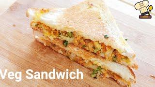 Veg Sandwich In 5 Minutes Crunchy Sandwich Recipe On Tawa  Cheesy Veg Sandwich वज सडवच तव पर