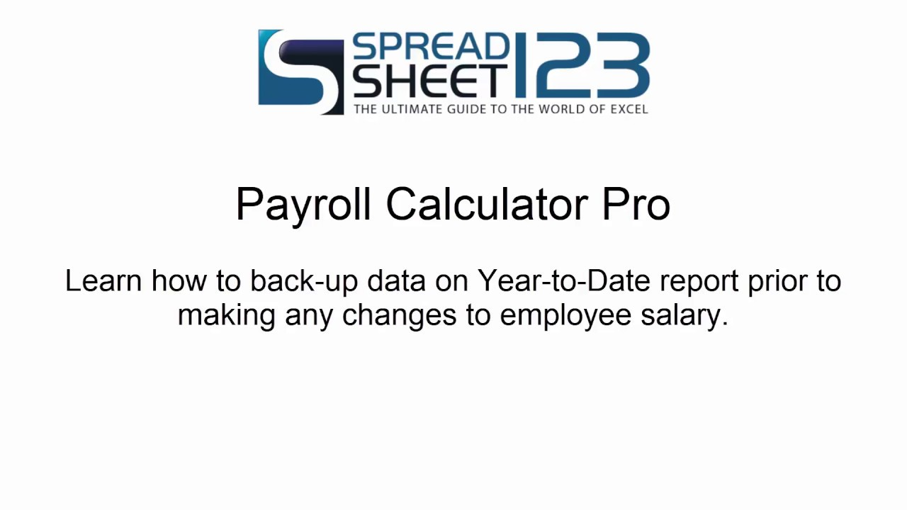 Payroll Calculator Pro - Year to Date Backup - YouTube