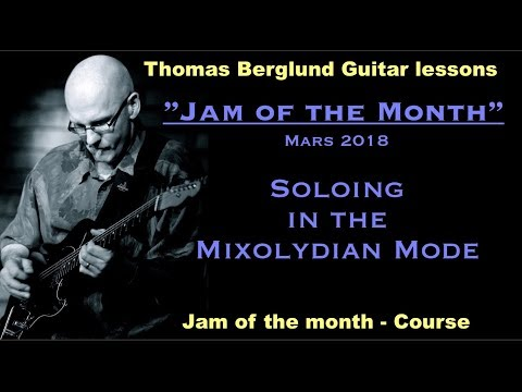 Jam of the month  - Mixolydian mode w. transcribed lines, back track & tips - Guitar lesson