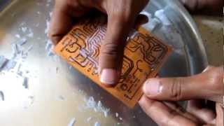 Making of PCBs at home, DIY using inexpenive materials