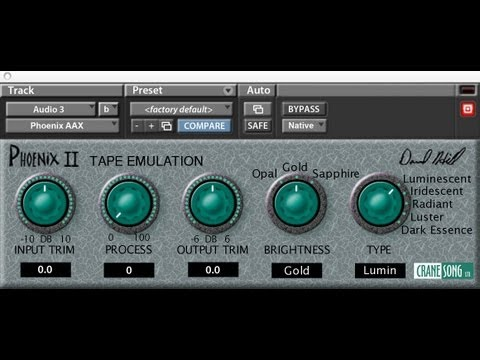 Phoenix II Tape Saturation plugin for Pro Tools 10 by Crane Song