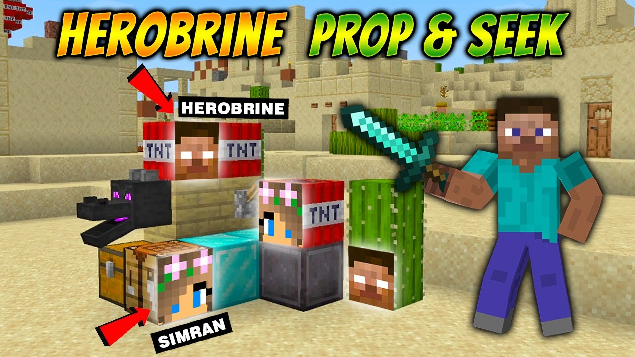 Download MINECRAFT HIDE AND SEEK BUT YOU CAN BECOME ANY BLOCK | HEROBRINE PROP AND SEEK